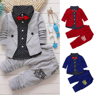 2pc Kid Baby Boy Gentry Clothes Set Formal Party Christening Wedding Tuxedo Suit