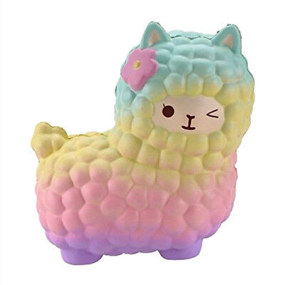 AU Stock Jumbo Squishy 12CM Alpaca Sheep Cream Slow Rising Kids Toy Phone Strap