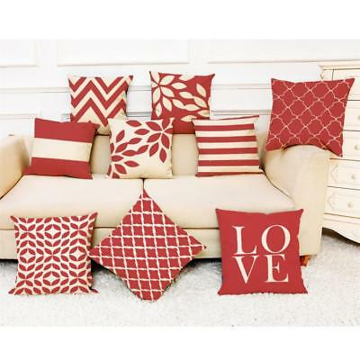 Home Room Decor Cushion Cover Red Geometric Throw Pillowcase Pillow Covers