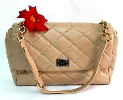 78b96654500 Authentic Dolce   Gabbana Beige Leather Classic Large Satchel Shoulder Bag