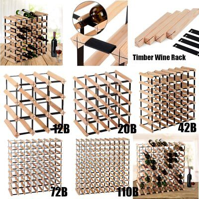 Solid Timber Wooden Wine Rack Holder Storage Cellar Kit 12/20/42/72/110 Bottles