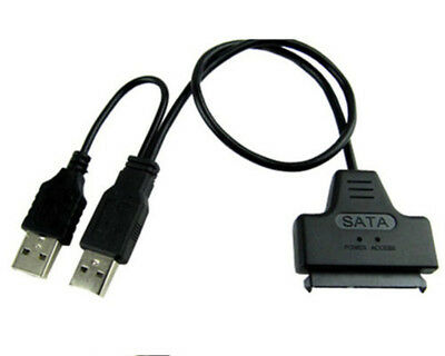 """SATA 7+15 Pin 22Pin to USB 2.0 Cable Adapter For 2.5"""" Laptop Hard Drive Disk HDD"""