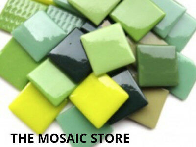 Green Mix Gloss Glass Tiles 2.5cm - Mosaic Tiles Supplies Art Craft