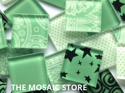 Handmade Green Mosaic Glass Tiles 2.5cm - Art Craft Supplies
