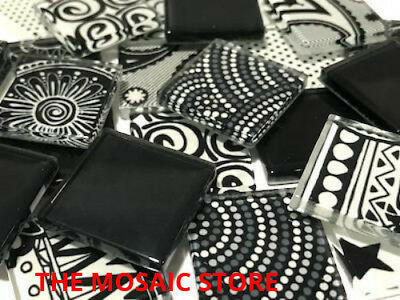 Handmade Black & White Mosaic Glass Tiles 2.5cm - Supplies Art & Craft