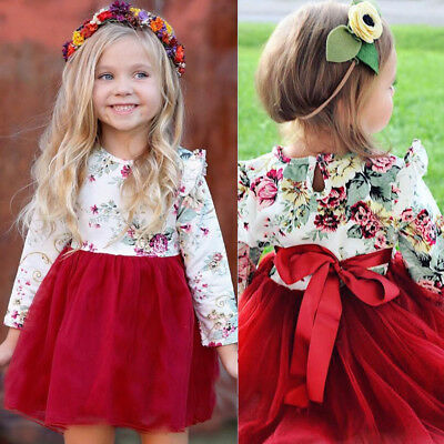 Toddler Kids Baby Girls Floral Long Sleeve Tulle Tutu Princess Dress Outfits