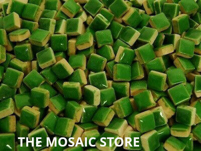 Dark Green Square Ceramic Tiles 1cm - Mosaic Tile Supplies Art Craft