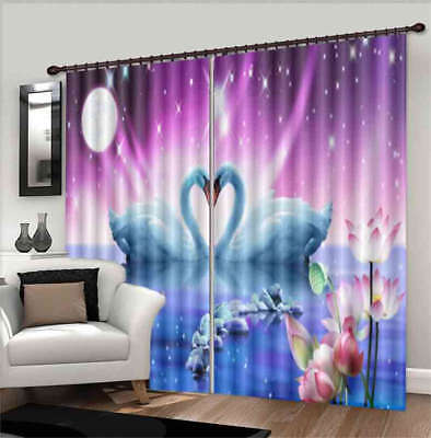 Two Lovely Swans 3D Curtain Blockout Photo Printing Curtains Drape Fabric