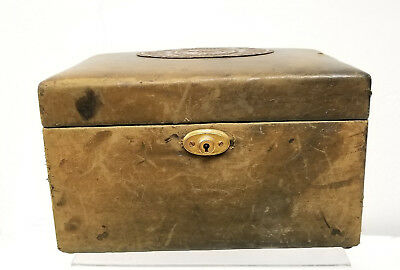 Antique Vintage Chinese Leather Bound Jewelry Dresser Box Shou