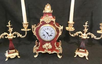 Antique french boulle clock garniture