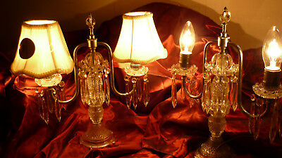 Antique Elegant Pair French Crystal Glass 2 Light eaTable Candelabra Chandeliers