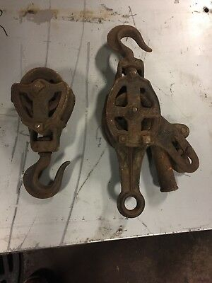 Vintage Cast Iron Hudson Barn Pulley Old Farm Tool Primitive block and tackle