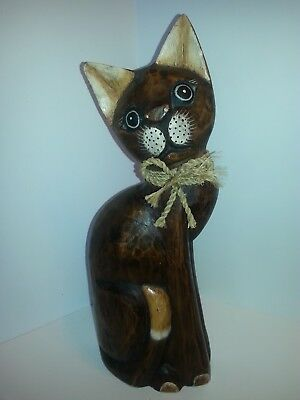 "Vintage Home Decor Hand-Crafted Dark Wooden Cat 15"" Beautiful"