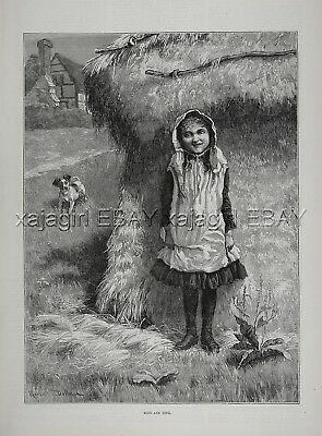 Dog Fox Terrier (Smooth) Puppy Plays Hide & Seek with Girl, 1880s Antique Print
