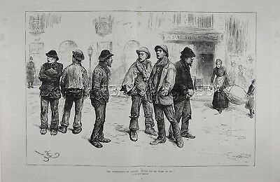 England London Unemployed Men, Welfare State, Huge 1880s Antique Print & Article