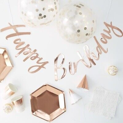 Rose Gold Foiled Complete Party in a Box - Ginger Ray - Plates, Cups, Napkins ++