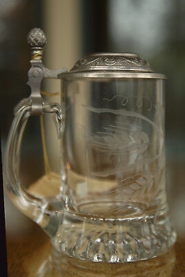 Rastal Etched & Cut Crystal  w/ Pewter lid German Glass Beer Stein Mug