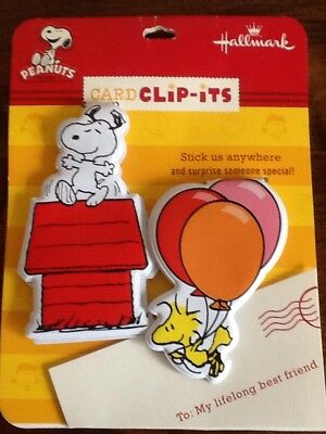 PEANUTS SNOOPY WOODSTOCK MAGNETIC CARD CLIP-ITS by HALLMARK Stick Anywhere