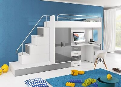 HIGH SLEEPER CABIN BED SET Alta 5S KIDS BEDROOM WARDROBE ...