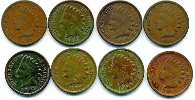 1887 1888 1889 1890 1891 1892 1893 1894 Indian Head Cent (8 Coins)