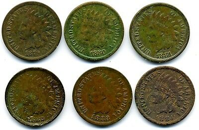 1879 1880 1881 1882 1883 1884 Indian Head Cent (6 Coins)
