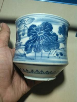 Ming Cup 16th Century Blue White Flower Motif Big Perfect Codition Rare !!!