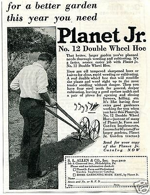 1931 SL Allen & Co Planet Jr No. 12 Double Wheel Hoe Vintage Print Ad