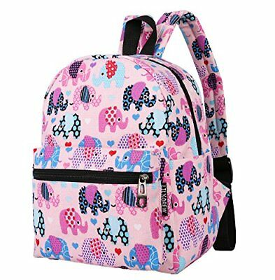 Lightweight Canvas Backpack for Women Teens and Kids Elephant Pink Small V2