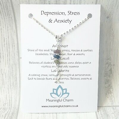 Depression Stress Anxiety Necklace Gemstone Hope Healing Crystal Gift Amethyst