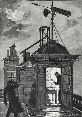 Royal Observatory Greenwich RGO, Wind Anemometer, 1880s Antique Print & Article