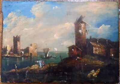 Old Master Painting, Italian Francesco Guardi School 1800 C .oil On Canvas