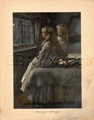 Sisters Star Gazing, Astronomy Antique Color Print