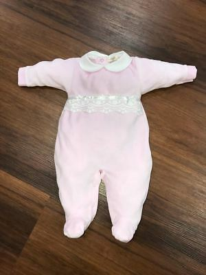 Girls Mintini Baby Designer Pink All In One With Beautiful Lace Detail