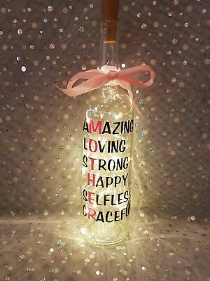 LED Glass Wine Bottle Light up Home Decor - Mothers Day - Birthday- Gift.