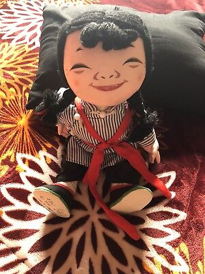 A MICHAEL LEE Chinese Doll MICALE #403 Cloth Doll Straw Clothes &Tag Vintage