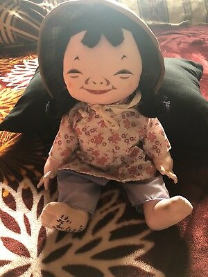 A MICHAEL LEE Chinese Doll MICALE #404 Cloth Doll Straw Hat Clothes &Tag Vintage