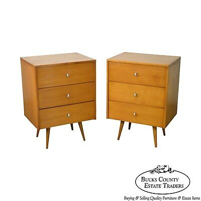 Paul McCobb Planner Group Pair of 3 Drawer Chests Nightstands