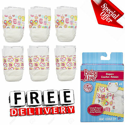 Baby Alive Diapers Pack 6 Spare Super Refill Doll Supplies Accessories Kid Gift