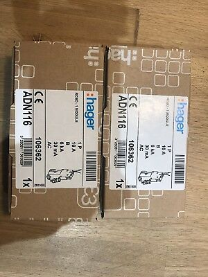 Hager 16A 30mA RCBO Type B AND116