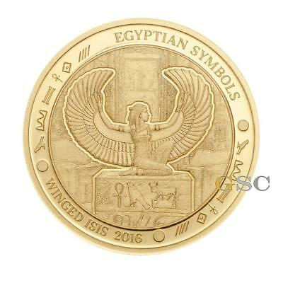 Palau 2016 $1 Winged Goddess Isis - Egyptian Symbols series .999 fine gold coin
