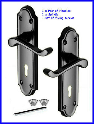 BLACK NICKLE Door Lock Handle MODERN ashford ashworth style Victorian BLACK D5