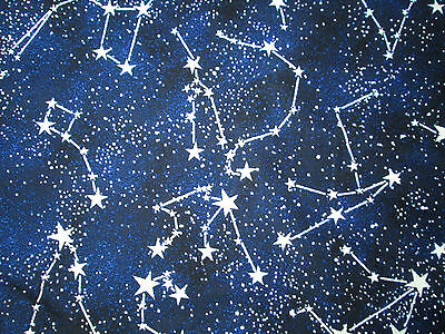 Constellation Stars Glow In the Dark Stars Cotton Fabric FQ