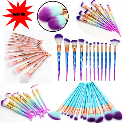 New Unicorn Mermaid Makeup Brush Set Cosmetic Foundation Blush Brushes Kit Tool