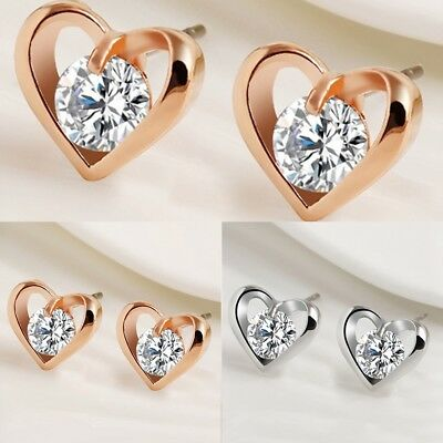New Fashion Women Silver& Gold Plated Crystal Heart Baby Kids Screwback Earring