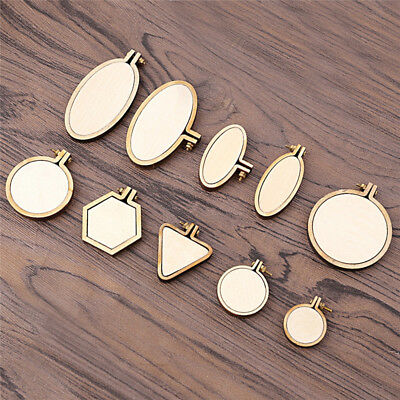 Mini Embroidery Hand Stitching Hoop Cross Framing Hoops Wooden Round Oval Frame