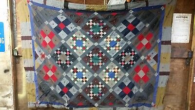 "ANTIQUE VINTAGE HAND MADE PATCH WORK DIAMOND QUILT  66"" x 88"""