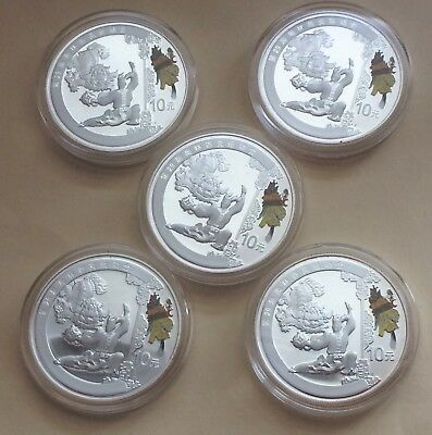 5-2008 China Lion Dances 10 Yuan 1 oz. Silver Proof Coins Beijing Olympics Game