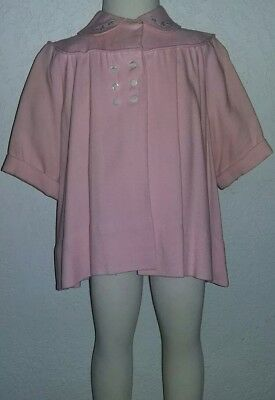 Vintage Girls Pink Lined Button Up Wool Smock 3T