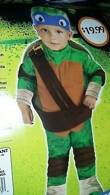Teenage Mutant Ninja Turtles Nickelodeon Leonardo Toddler Costume 2-4 Years New