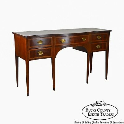 Hepplewhite Style Vintage Banded Mahogany Serpentine Sideboard by Hickory